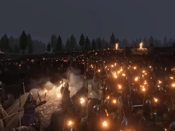 1000 факелов на ночной карте в Mount and Blade 2 Bannerlord