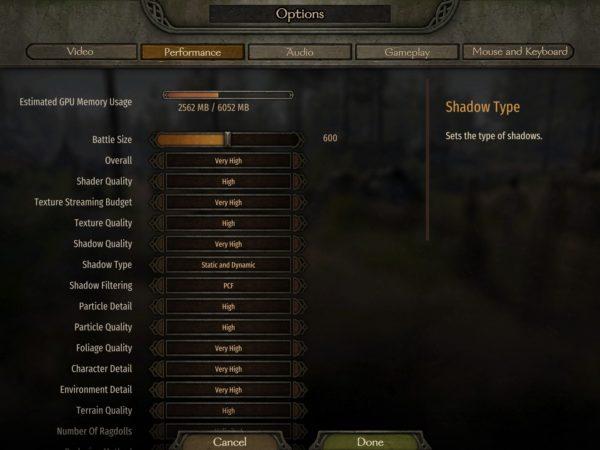 Оптимизация Mount and Blade 2 Bannerlord